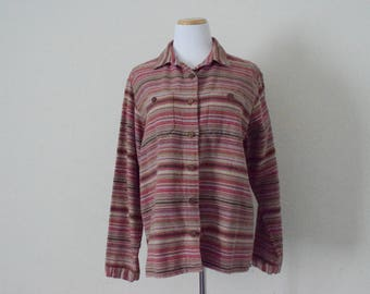 FREE usa SHIPPING vintage womens cotton button up shirt/ Woolrich/ striped pattern/ retro hipster nerdy geek size XL