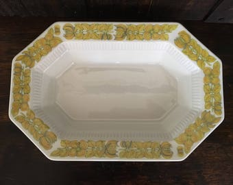Yellow Bouquet by Independence Ironstone Interpace Japan Oval Octagonal Vegetable Serving Bowl Vintage Kitchen