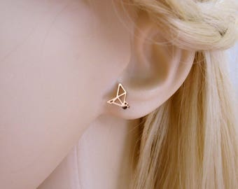 Origami CRANE BIRD rose gold plated stainless steel stud earrings