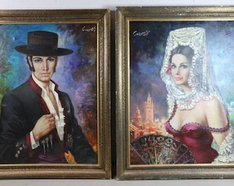 Cortes, Spanish gentleman, oil painting. lady not included