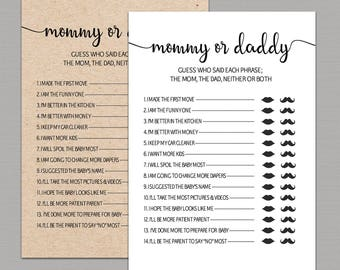Mommy or daddy baby shower game printable, Guessing game, guess who said, he said she said, Rustic Baby Shower Quiz, Kraft shower games B11