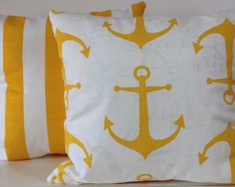 Reversible poly filled coastal ,anchor and nautical pillow in various sizes