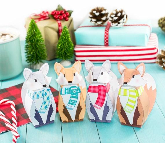 Printable winter fox gift boxes diy christmas party favor solutioingenieria Image collections
