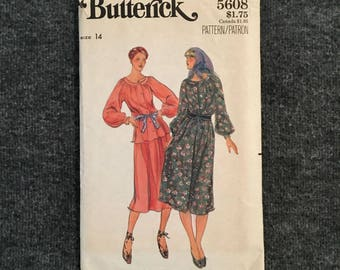 Vintage 1970s Butterick Dress Pattern - Size 14