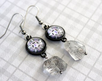 Purple Pentacle Cabochon Earrings with Moss Amethyst Beads - Victorian Vintage Style Halloween Goth Witchy