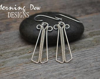 Sterling Silver Angel Woven Wire Wrap Earrings