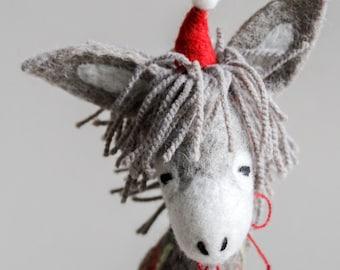 Dominick - Felt  Donkey. Art Toy. Organic toy. Felted Toys. Christmas gift Felt animals Marionette. Felt Toy. grey natural undyed wool