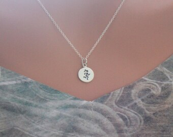 Sterling Silver Running Fitness Charm Necklace, Running Athletic Charm Necklace, Running Necklace, Gift for Runner, Runner Charm Necklace
