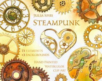 Watercolor Steampunk Clipart, Rust, Iron, Metal, Metallic, Gear, Clock, Watch, Heart, Mechanical, Invitation, Greeting card, Diy. Steampunk