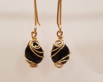 Black Onyx and Gold Wire Sculpted earrings