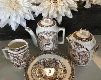 Antique Brown Transferware Lil Miss Mae Tea Set