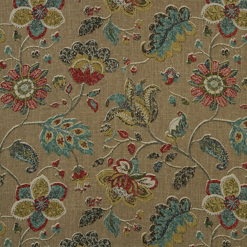 Teal Red Fabric Abstract Floral Upholstery Fabric On Sale