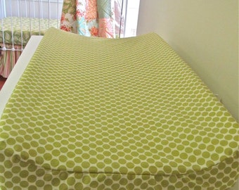 Custom Changing Pad Cover - Contoured - Full Moon Dot in Lime, Nursery Baby