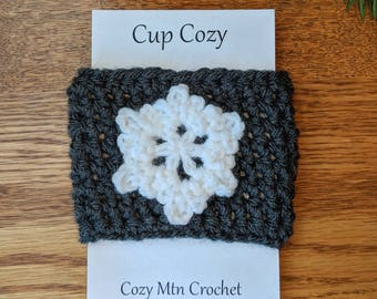 Crochet Coffee Sleeve, Snowflake, Cup Cozy, Reusable Coffee Cozy, Coffee Sleeve, Crochet Cozy, Tea Cozy, Reusable Sleeve, Drink Sleeve Cozy