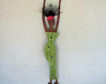 African Art Metal Wall Sculpture Recycled Metal Wall Hanging Lime Green Caribbean Art 5 x 25