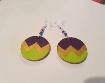 Handmade Painted Wooden Earrings