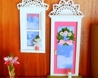 Pink Fairy Door or Tooth Fairy Door and Window, with architectural detail and handmade wreath