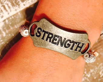 Strength Bracelet, Strength, Breast Cancer awareness, Inspirational Jewlery, Never give up, My strength