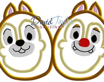 Easter Egg Chip and Dale - 4x4, 5x7 and 6x10 in 7 formats - Applique - Instant Download - David Taylor Digitizing