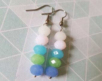 Pastel beaded earrings, Pastel earrings, Beaded earrings, Dangle earrings, Drop earrings, Beads, Faceted glass beads, Pastels, Multicolour