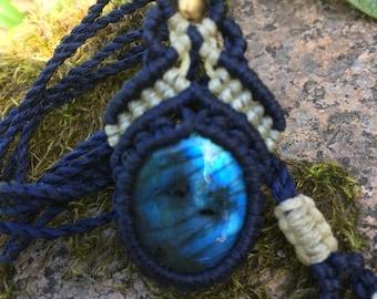 Unique Labradorite  macrame necklace