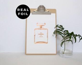 Copper Foil Perfume Print - Unframed Print - Makeup Artist - Beauty Print - Prints for Bathroom - Prints for Makeup Lovers - Perfume Print