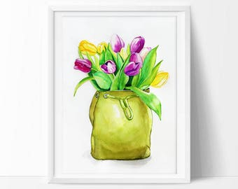 Art Print of Watercolor Flowers Print Pink and Yellow Tulips Painting Floral Print Tulips Print Colorful Watercolor Flower Print 8x10, 9x12