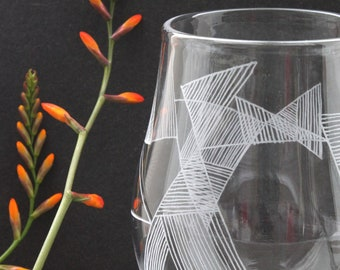 Handmade Drinking Glass with Engraved Triangle Design