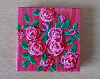 Tiny Pink Rose Bush Acrylic Painting on Canvas, Miniature Painting, Original Artwork, Fine Art, Small Canvas, Art & Collectibles