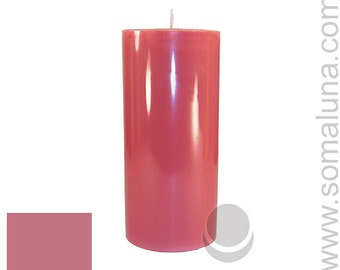 3 x 6.5 Mauve Classic Hand-poured Unscented Pillar Candles Solid Color