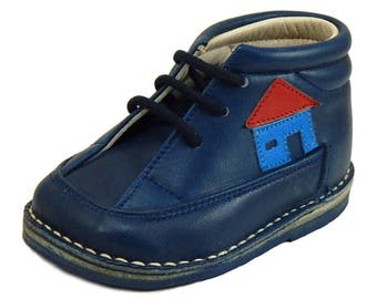 DE OSU 213 - Baby Boy's Vintage Euro Navy Blue Leather Desert Boot