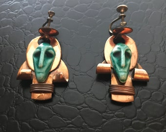 BEAUTIFUL Antique Handcrafted Gemstone Face Earrings-Must See To Appreciate