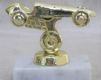 Vintage Pinewood Derby Trophy, Boy, Cub Scouts Car Race, Racecar, Racing Award, Transportation, Vehicles, Marble Base, Paperweight