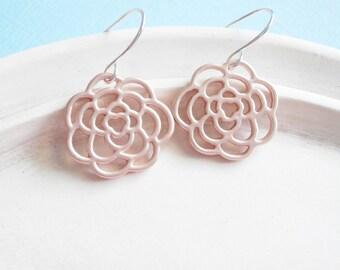 Rose boucles d'oreilles or - Rosette charmes
