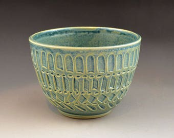 Antique Blue Serving  Bowl with Inscribed Design - Cereal, Dessert  or Ice Cream Dish