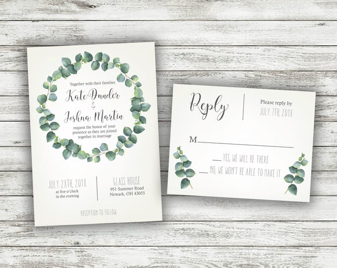 Green and White Fern Wedding Invitations, Greenery Wedding Invitation, Green, Vintage, Leaves, Classic, Tropical Wedding Invitation, Leaf