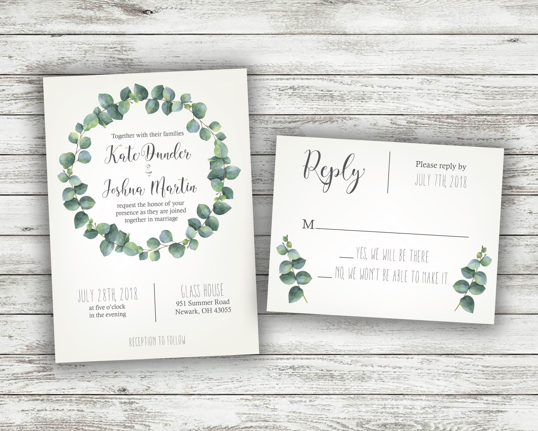 Green and White Fern Wedding Invitations, Greenery Wedding ...