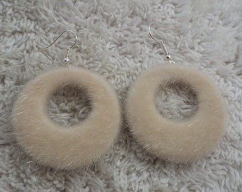Ivory Faux Fur Hoop Pierced Earrings