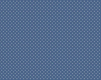 Denim Blue Swiss Dots Fabric by from Riley Blake Fabrics
