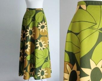 Vintage M/UK10 long floral wrap skirt