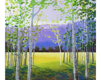 Landscape Painting PRINT of the aspen birch trees ACRYLIC and mountains in the summer GICLEE 13x13