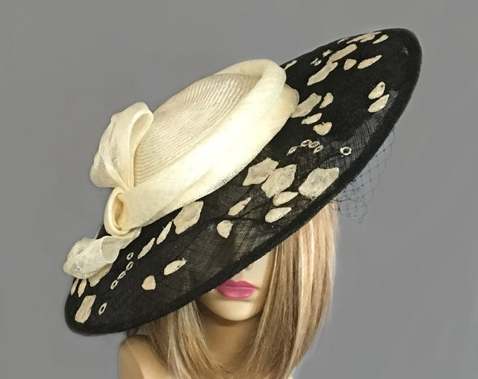 "Featured listing image: Kentucky Derby Hat, ""Ariana""  novelty Sinamay  Cocktail hat, black and white fascinator"