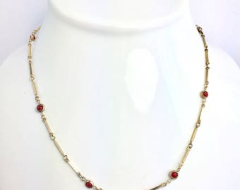 "Vintage Gold Tone Necklace with Red Beads - 19"" Gold and Red Necklace, Vintage Necklace, Gold Tone Necklace, Red Bead Necklace, Gold and Red"