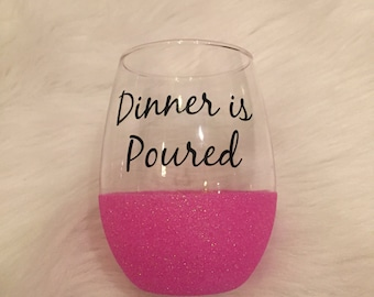 Dinner is Poured / Stemless Wine Glass / Giltter Dipped Glass / Sparkle Glass