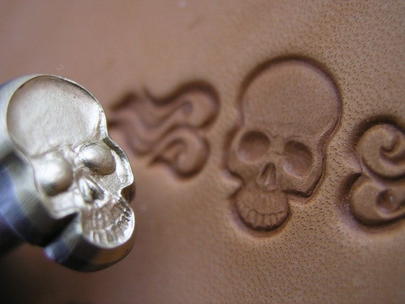 014 01 Skull Leather Stamp 17 X 11 Mm Saddlery Homemade Tool