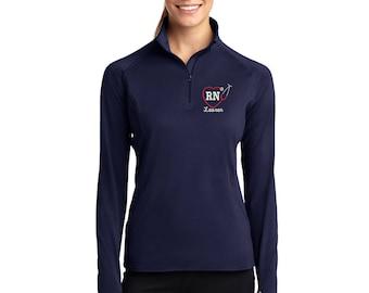RN Heart Stethoscope 1/2 Zip Athletic Dri-Fit Lightweight Pullover. Dri-Fit Nurse Pullover. Registered Nurse Athletic Pullover. SM-LST850.