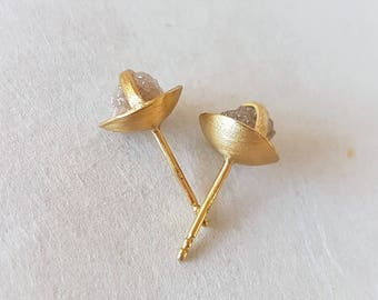 Rough Diamond Studs . Raw Diamond Earrings . Diamond Stud Earrings . Ball Studs . Organic Jewelry . Gold Studs . Flower Earrings . Bridal