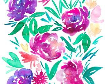 Purple Peonies Print