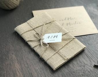Burlap wedding invitations Etsy