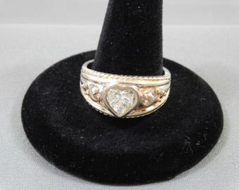 Sterling Ring with Heart Shaped Rhinestone, Size 9